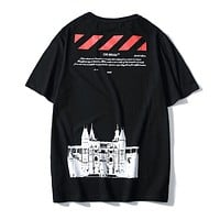 OFF-WHITE C/O VIRGIL ABLO New fashion letter arrow print couple top t-shirt Black