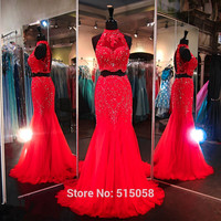 Red Royal Blue Fuchsia Long Lace Beaded Mermaid Prom Dresses Two Piece 2017Elegant  Evening Gowns
