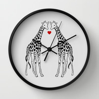 Giraffe Love Wall Clock by Jacqueline Maldonado