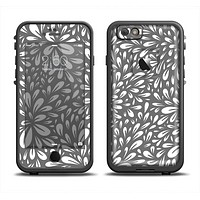 The Gray & White Floral Sprout Apple iPhone 6 LifeProof Fre Case Skin Set