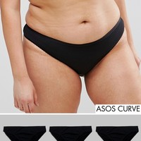 ASOS CURVE 3 Pack Brazilian Pants in 100% Cotton at asos.com
