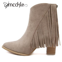 2015 Fringe boots for women high heels sexy women boots fashion winter Autumn suede shoes ladies black botas femenina J4312
