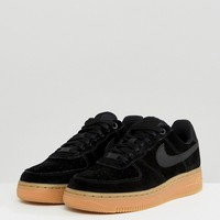 Nike Air Force 1 '07 Trainers In Black Suede With Gum Sole at asos.com