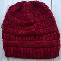 A Slouchy Beanie in Red