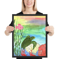 Sea Turtle Shores Framed Art Print - colorful undersea coral reef framed print, coastal