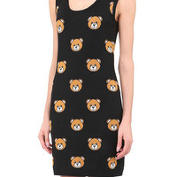 Black Sleeveless Animal Print Tank Dress