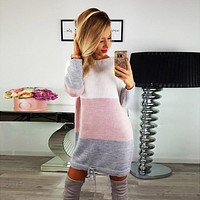 Fashion 2017 winter dress Womens Holiday O Collar Knit Party Ladies Casual Dress striped  Long Sleeve party Dresses vestidos