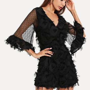 Bell Sleeve Lace Applique Plunging Romper