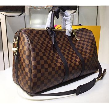 LV New Printed Travel Handbag for Men and Women with Shoulder Straps Coffee lattice High-quality