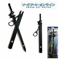 VIP - New Anime Sword Art Online Kirito Sword with Sheath Key Chain (Black)