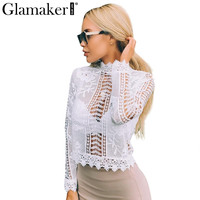 sexy white lace blouse shirt Women tops elegant hollow out blouse Summer tops female blouse  long sleeve blusas