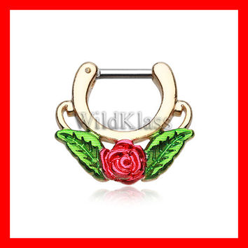 Septum Clicker 16g 14g Golden Rose Blossom Icon Earring Jewelry Septum Clicker Cartilage Piercing Tragus Ring Helix Conch Nose Belly Nipple