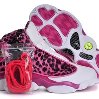 VAWA Womens Air Jordan 13 Retro High Leopard Basketball Shoes Pink