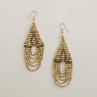 Gold and Hematite Bead Chandelier Earrings