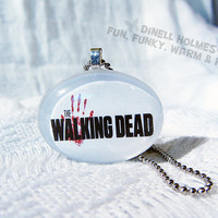 CLEARANCE SALE The Walking Dead Domed Glass Tile Pendant Oval Handmade Jewelry