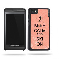 Keep Calm And Ski On Coral Floral Blackberry Z10 Case - For Blackberry Z10
