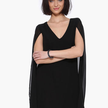 Black V-Neck Chiffon Mini Dress