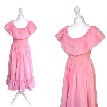 1970's Laura Ashley Dress | Made in Wales | Pastel Pink Cotton Vintage Dress