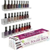 """Invisible"" Acrylic Nail Polish Rack. Versatile 3 Floating Shelves Set - Wall..."