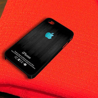 Turquoise Apple Logo Dark Wood iPhone 4 iPhone 4S Case