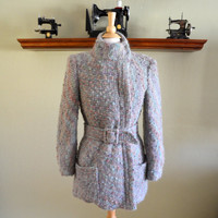 Vintage Belted Coat from Gump's of San Francisco, Nubby Turquoise, Pink, Lavender and Teal, Mohair?, Size 8, 1980s