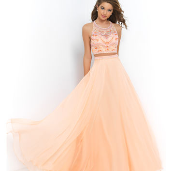 Cantaloupe Orange Two Piece Beaded Crop Top & Long Skirt