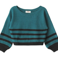 Aqua Striped Cropped Sweater