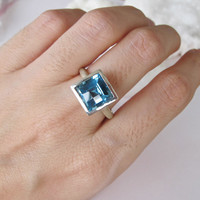 Sale Natural Blue Topaz Ring- Promise Ring- Gemstone Ring- Birthstone Ring- Promise Ring- Engagement Ring- Square Ring- Bridal Ring- Ring fo