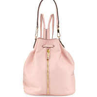 Cynnie Leather Drawstring Backpack, Pink Beach - Elizabeth and James