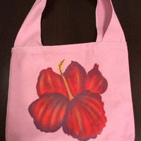 Hand Painted Hibiscus Canvas Sling Messenger Bag