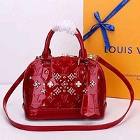 "LV ""Louis Vuitton"" Fashion Personality Women Zipper Leather Tote Satchel Shoulder Bag Handbag Crossbody Red I"