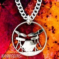 Electric Drum Set Necklace, Rockers jewelry hand cut coin