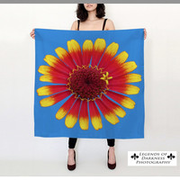 Red and Yellow Zinnia Square Scarf - bright silk scarf, wearable art, unique art scarf, blue, gifts for her