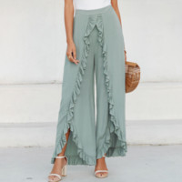 Spring and summer casual pants new wide leg pants loose split trousers women hot