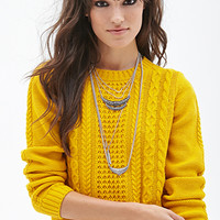 FOREVER 21 Cable Knit Sweater Mustard