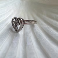 Promise Me you Love Me Sterling Silver Marcasite Heart Ring Shipping Included!