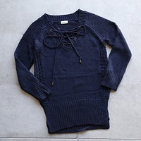 Lace Up Knit Sweater in Navy