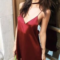 Red Satin Look Spaghetti Strap Plunge Open Back Mini Dress