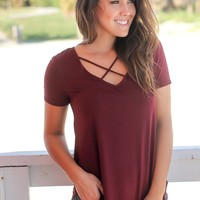 Burgundy Criss Cross Top with Short Sleeves