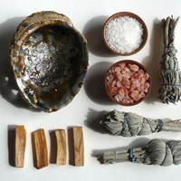 COMPLETE SMUDGE and CLEARING Set -- palo santo wood, sage, abalone shell, sea salt - smudging set, clearing tools, house warming