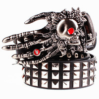 Fashion men's leather belt Punk belt skull ghost claw heavy metal wide belts hip hop dancing big rivet belt Men Gift for women