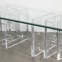 Skyscraper Style Mid-Century Modernist Lucite and Glass Cocktail Table