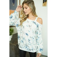 At A Glance Ivory Multi Tie Dye Top