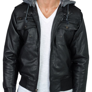 LE3NO Mens Faux Leather Jacket with Detachable Hoodie