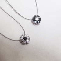 Lab White Sapphire and Black Spinel Flower Cluster Pendant on Cord, Sterling Silver, Genuine Gemstones, Minimalist, Simple Jewelry, Illusion