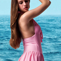 Pink Halter Bow-front Swimsuit
