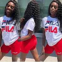 FILA Newest Hot Sale Woman Fashion Print Short Sleeve Top Shorts Set Two Piece