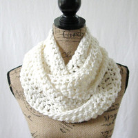 Ready To Ship Ivory Winter White Cowl Scarf Fall Winter Women's Accessory Infinity