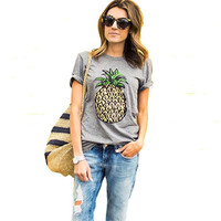 2017 New Fashion Pineapple Printed Gray Women T shirt Summer Plus Size Casual Brand T-shirt Short Sleeve O-neck Tops 61320