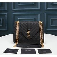 YSL Women Leather Shoulder Bag Satchel Tote Bag Handbag Shopping Leather Tote Crossbody 24cm